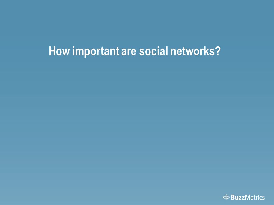 How important are social networks