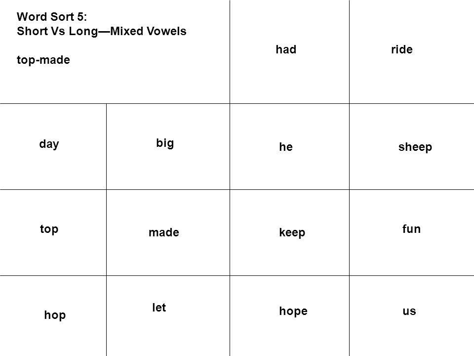 Word Sort 5: Short Vs Long—Mixed Vowels top-made day big top sheephe fun keepmade ushope hop let ridehad
