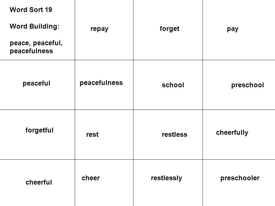 Word Sort 19 Word Building: peace, peaceful, peacefulness peaceful peacefulness forgetful preschoolschool cheerfully restlessrest preschoolerrestlessl