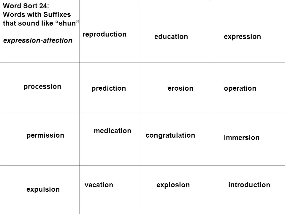 Word Sort 24: Words with Suffixes that sound like shun expression-affection procession prediction permission operationerosion immersion congratulation medication introductionexplosion expulsion vacation expressioneducation reproduction