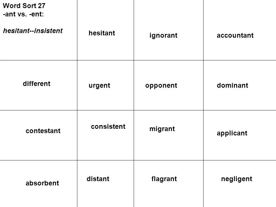 Word Sort 27 -ant vs. -ent: hesitant--insistent different urgent contestant dominantopponent applicant migrant consistent negligentflagrant absorbent