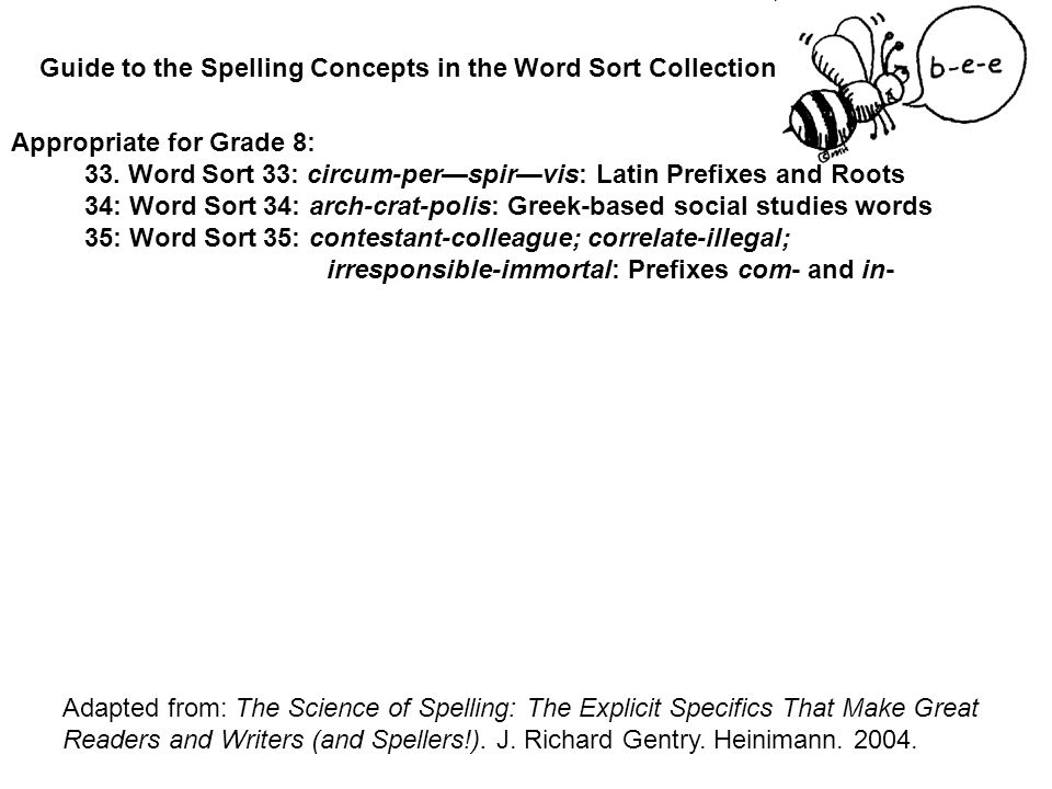 Guide to the Spelling Concepts in the Word Sort Collection: Adapted from: The Science of Spelling: The Explicit Specifics That Make Great Readers and