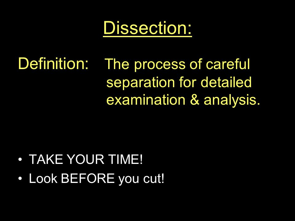 Dissection: Definition: The process of careful separation for detailed examination & analysis.