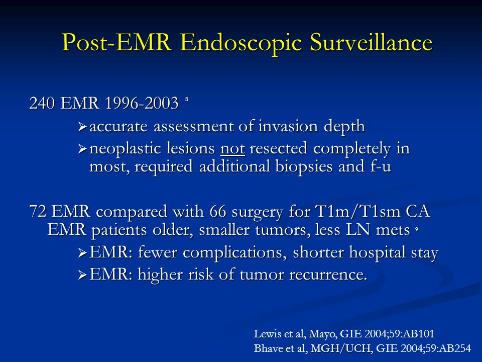 Post-EMR Endoscopic Surveillance 240 EMR 1996-2003 8  accurate assessment of invasion depth  neoplastic lesions not resected completely in most, req
