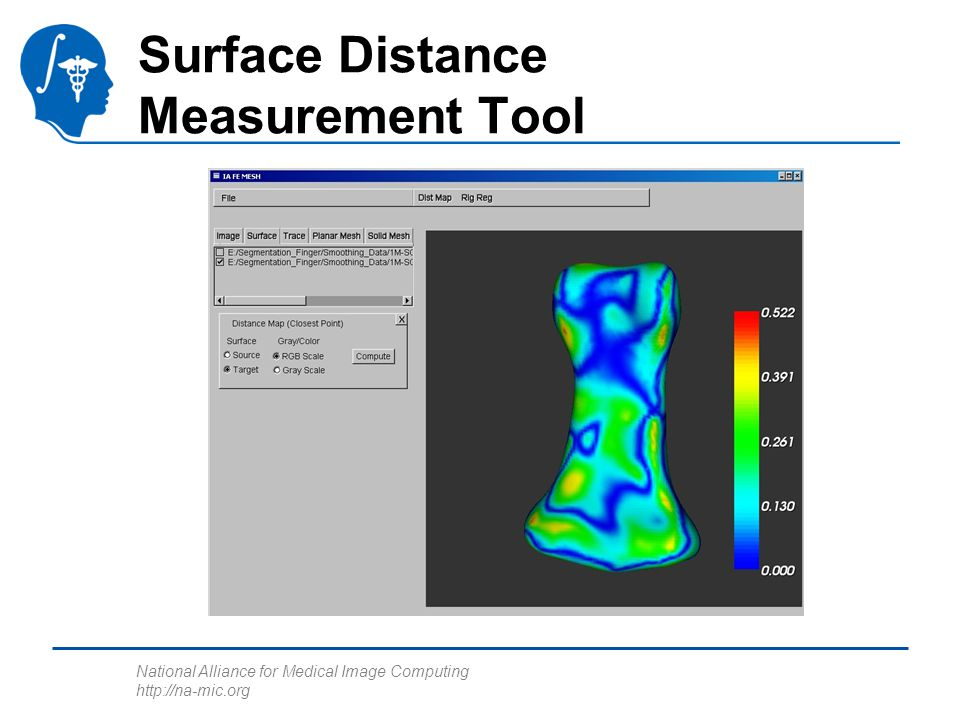 National Alliance for Medical Image Computing http://na-mic.org Surface Distance Measurement Tool