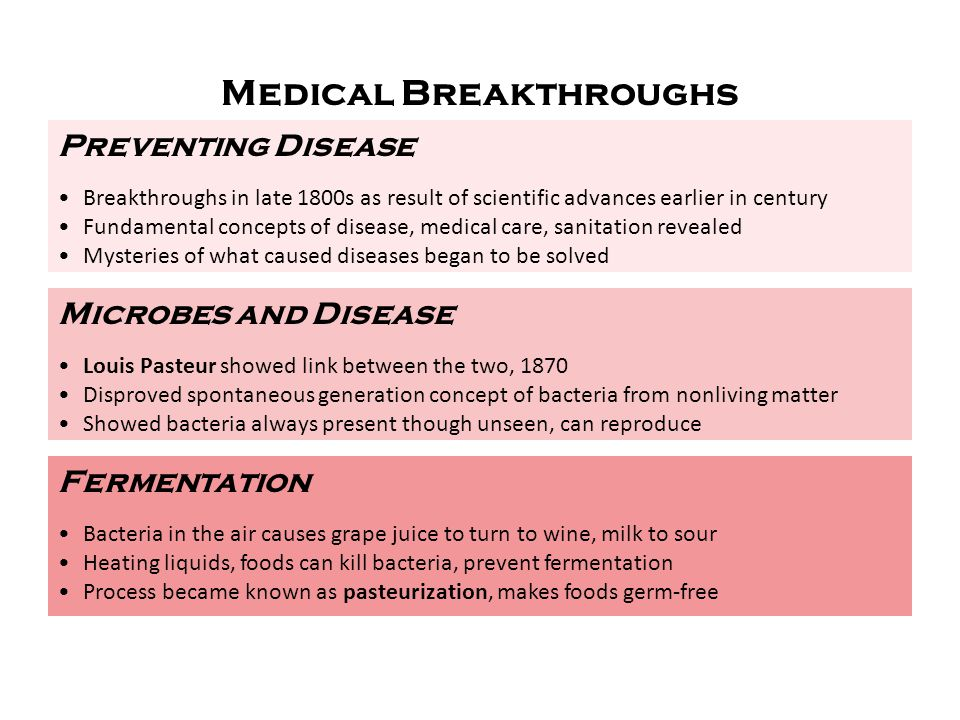 Preventing Disease Breakthroughs in late 1800s as result of scientific advances earlier in century Fundamental concepts of disease, medical care, sani