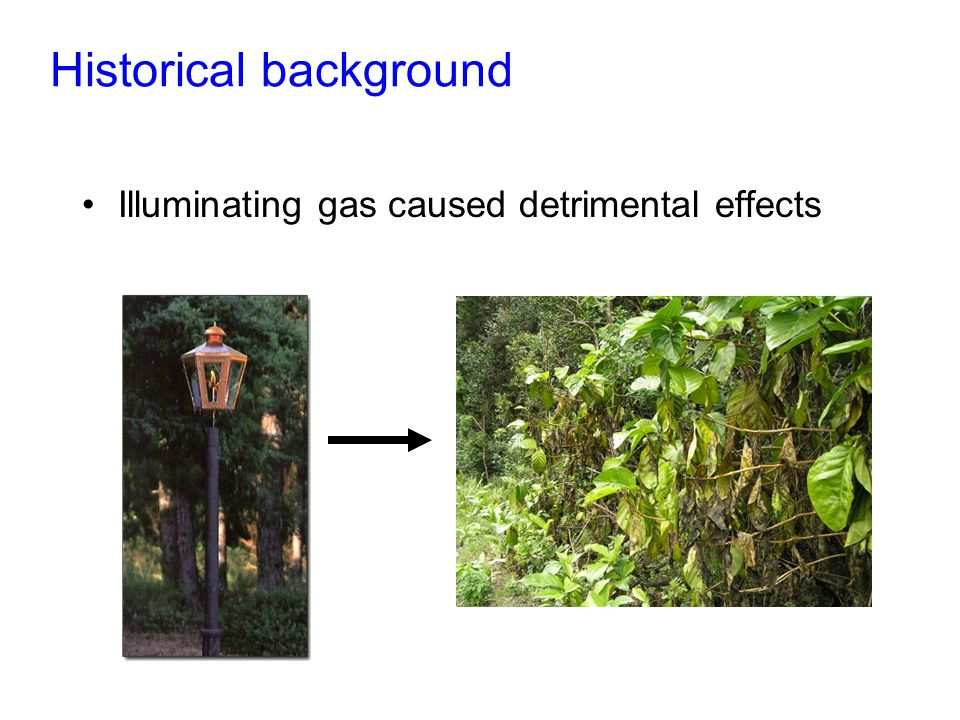 Historical background Illuminating gas caused detrimental effects