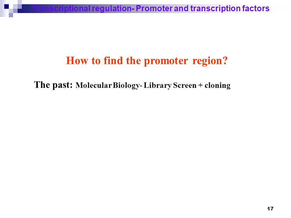 18 Transcriptional regulation- Promoter and transcription factors Library screen