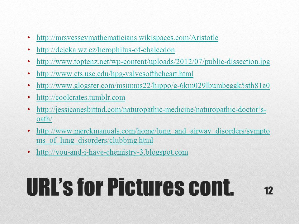 URL's for Pictures cont.