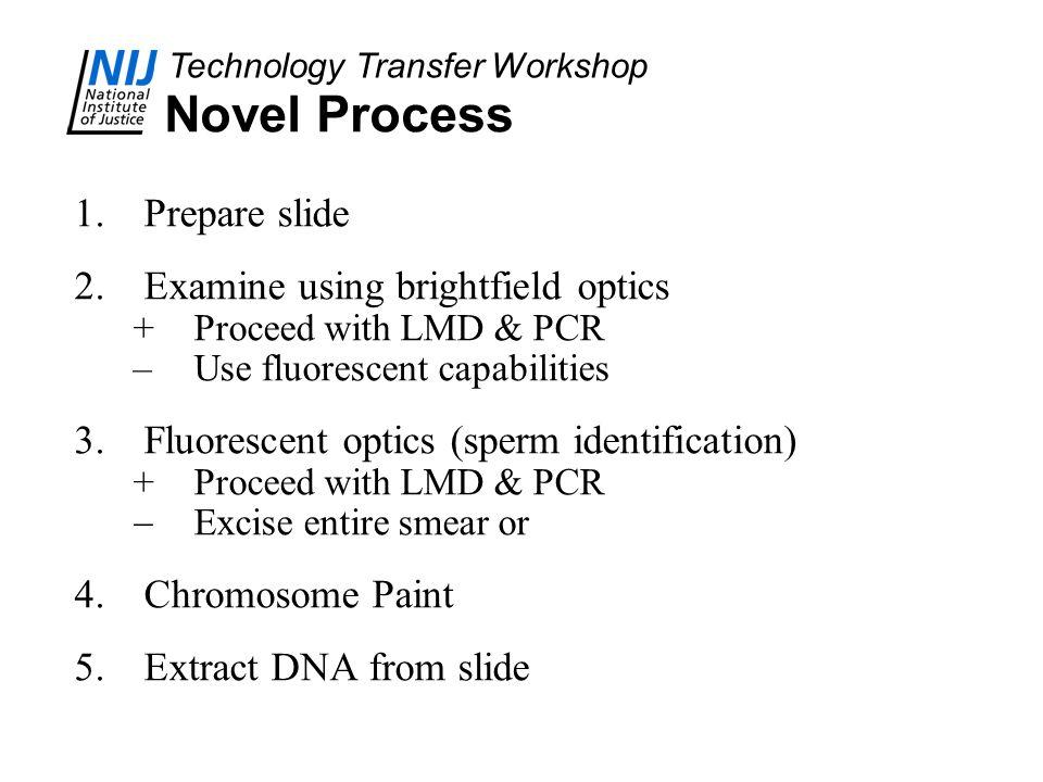 Technology Transfer Workshop Novel Process 1.Prepare slide 2.Examine using brightfield optics +Proceed with LMD & PCR –Use fluorescent capabilities 3.