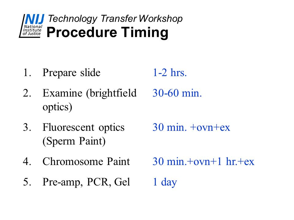 Technology Transfer Workshop Procedure Timing 1.Prepare slide 2.Examine (brightfield optics) 3.Fluorescent optics (Sperm Paint) 4.Chromosome Paint 5.Pre-amp, PCR, Gel 1-2 hrs.