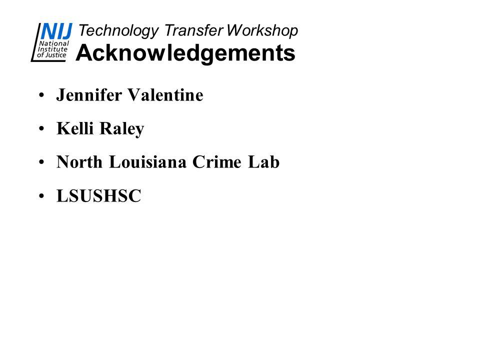 Technology Transfer Workshop Acknowledgements Jennifer Valentine Kelli Raley North Louisiana Crime Lab LSUSHSC