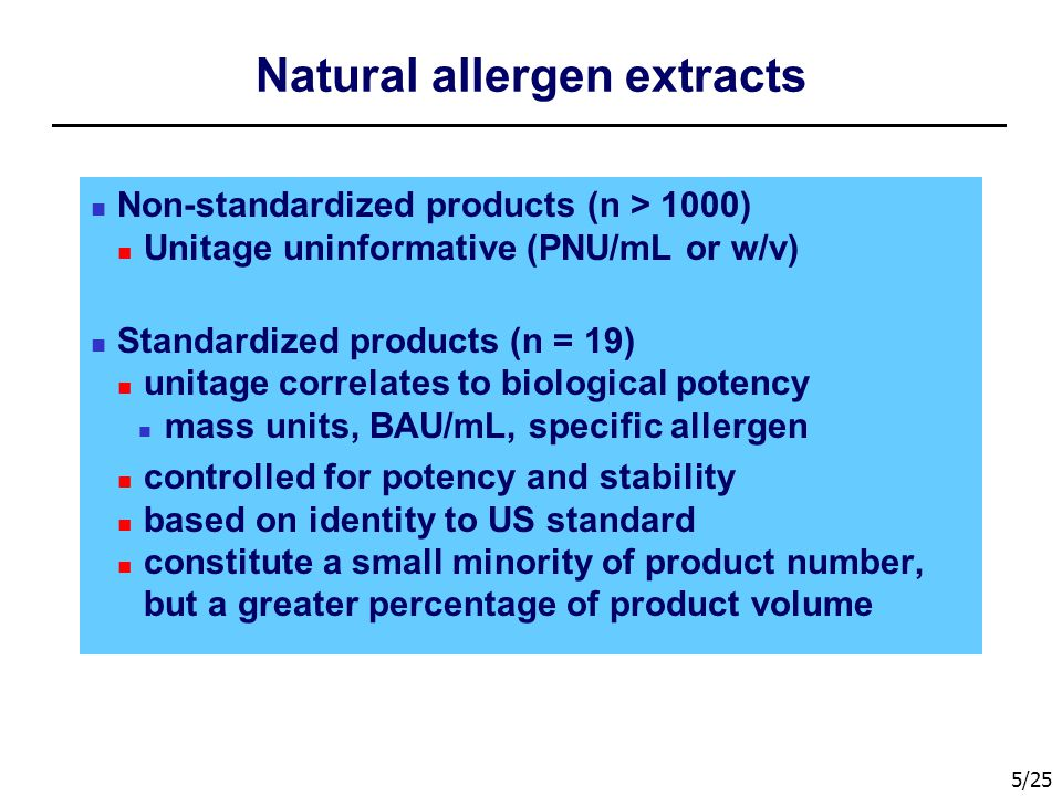 5/25 Natural allergen extracts Non-standardized products (n > 1000) Unitage uninformative (PNU/mL or w/v) Standardized products (n = 19) unitage correlates to biological potency mass units, BAU/mL, specific allergen controlled for potency and stability based on identity to US standard constitute a small minority of product number, but a greater percentage of product volume