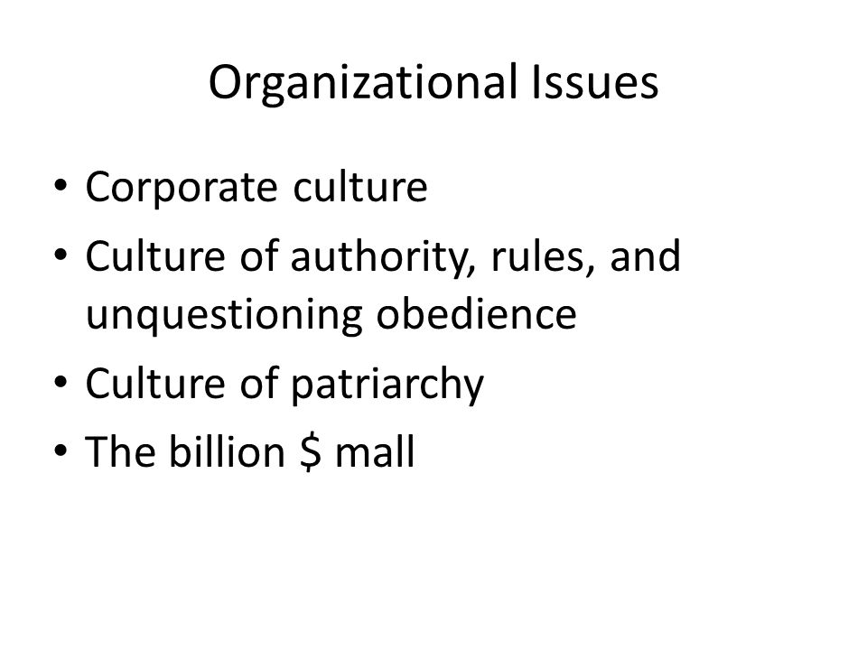 Organizational Issues Corporate culture Culture of authority, rules, and unquestioning obedience Culture of patriarchy The billion $ mall
