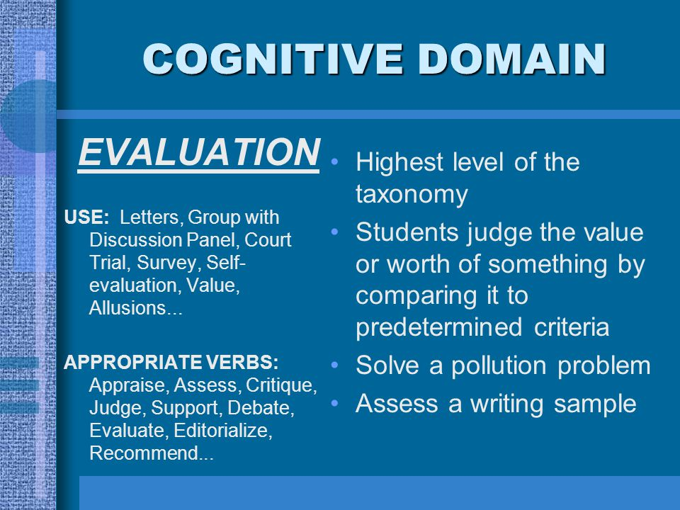 COGNITIVE DOMAIN EVALUATION USE: Letters, Group with Discussion Panel, Court Trial, Survey, Self- evaluation, Value, Allusions...