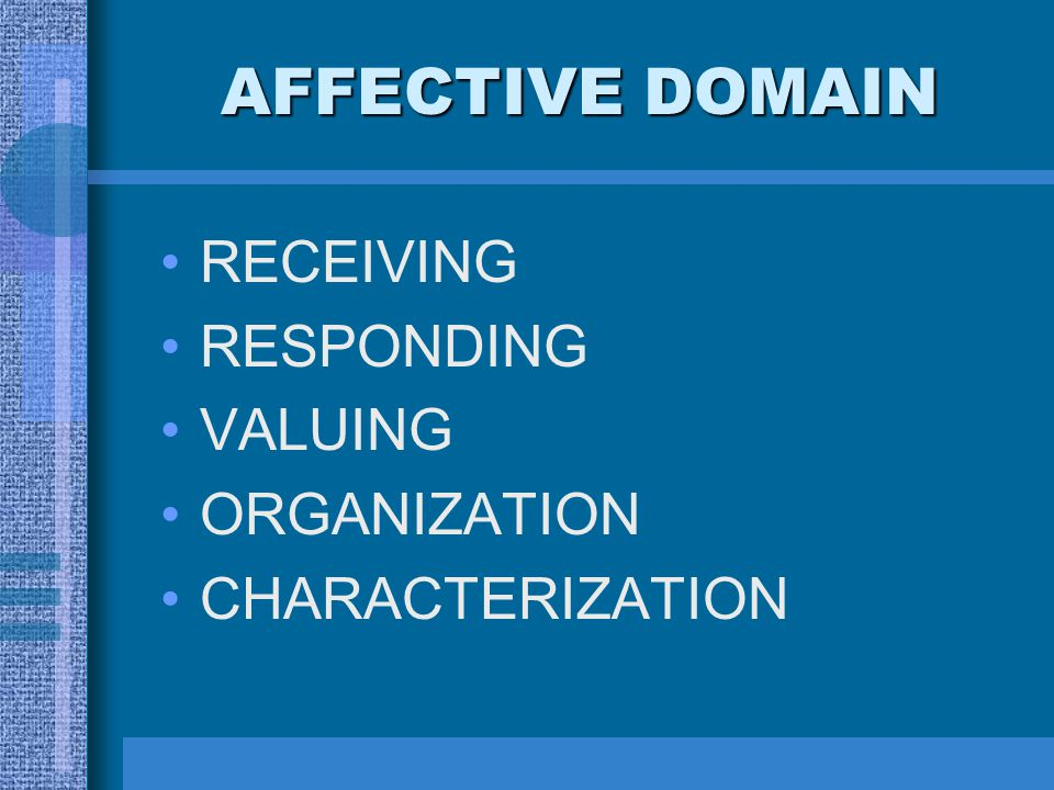 AFFECTIVE DOMAIN RECEIVING RESPONDING VALUING ORGANIZATION CHARACTERIZATION