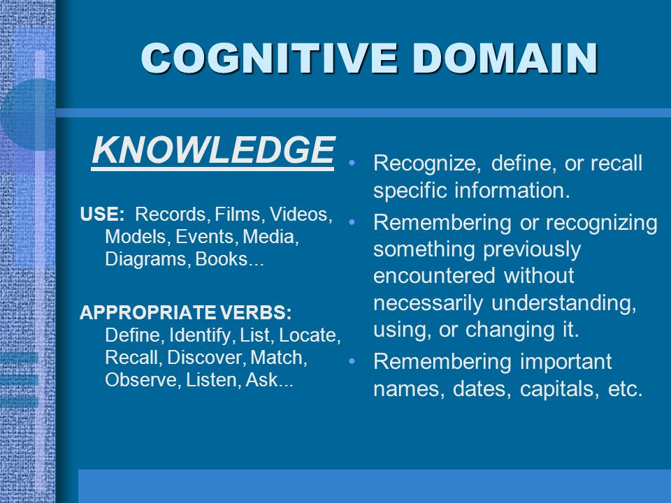 COGNITIVE DOMAIN Recognize, define, or recall specific information. Remembering or recognizing something previously encountered without necessarily un
