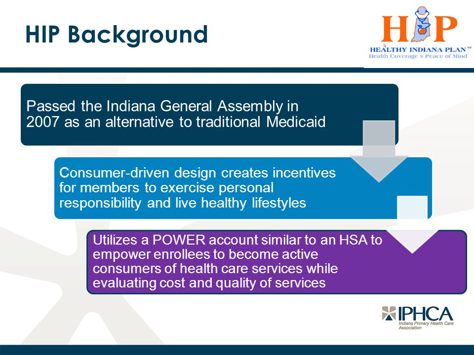 HIP Background Passed the Indiana General Assembly in 2007 as an alternative to traditional Medicaid Consumer-driven design creates incentives for members to exercise personal responsibility and live healthy lifestyles Utilizes a POWER account similar to an HSA to empower enrollees to become active consumers of health care services while evaluating cost and quality of services