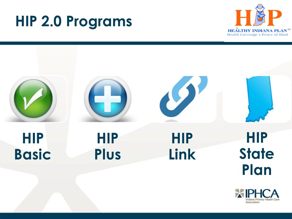 HIP Plus For Hoosiers with incomes up to 138% FPL Required POWER account contributions (2% member income) No other required cost- sharing (copayments)* Offers vision, dental, and more comprehensive prescription drug benefit Covers maternity services with no cost-sharing Power account jointly funded by member and the State of Indiana Initial plan selection for all enrollees * Exception: using ER for routine care