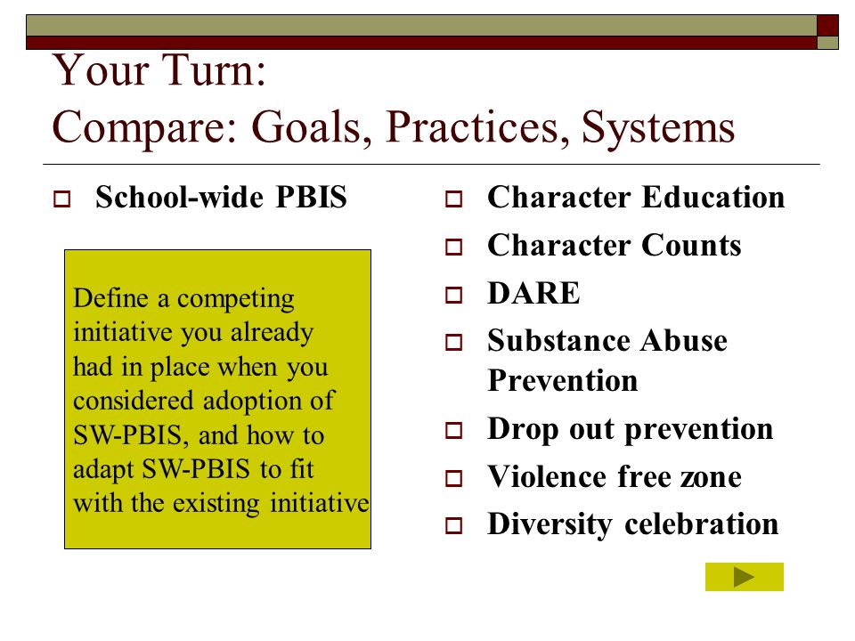 Your Turn: Compare: Goals, Practices, Systems  School-wide PBIS  Character Education  Character Counts  DARE  Substance Abuse Prevention  Drop o