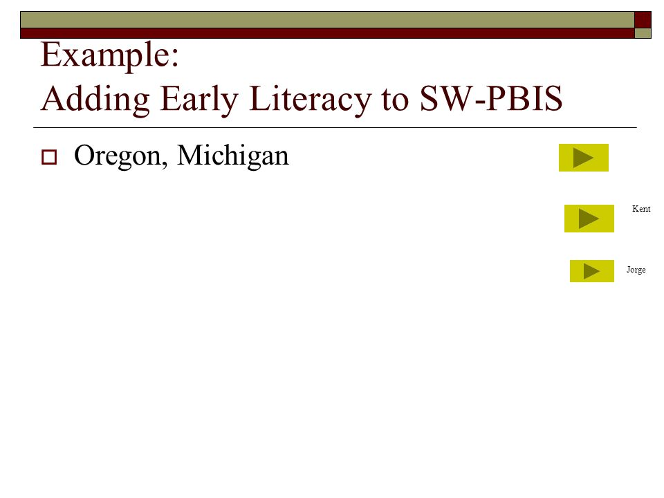 Example: Adding Early Literacy to SW-PBIS  Oregon, Michigan Kent Jorge