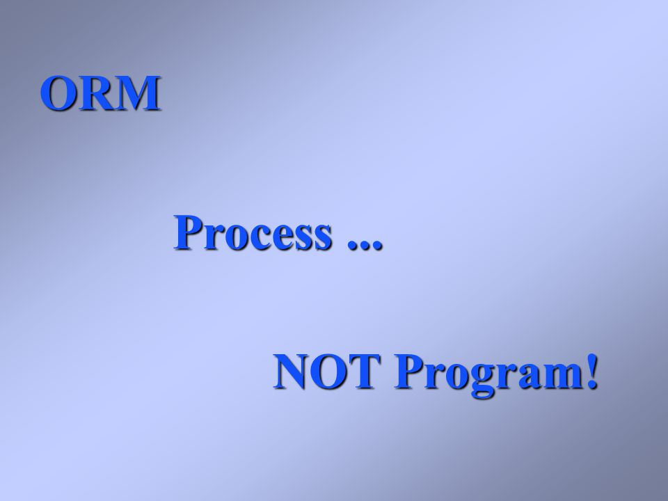 ORM Process... NOT Program!