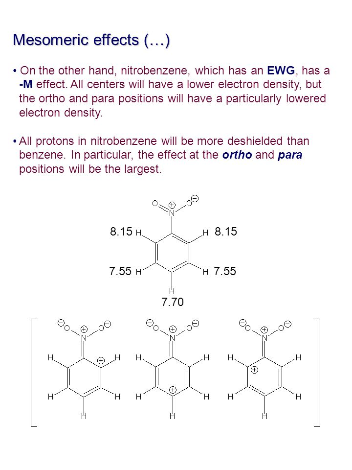 Mesomeric effects (…) On the other hand, nitrobenzene, which has an EWG, has a -M effect. All centers will have a lower electron density, but the orth