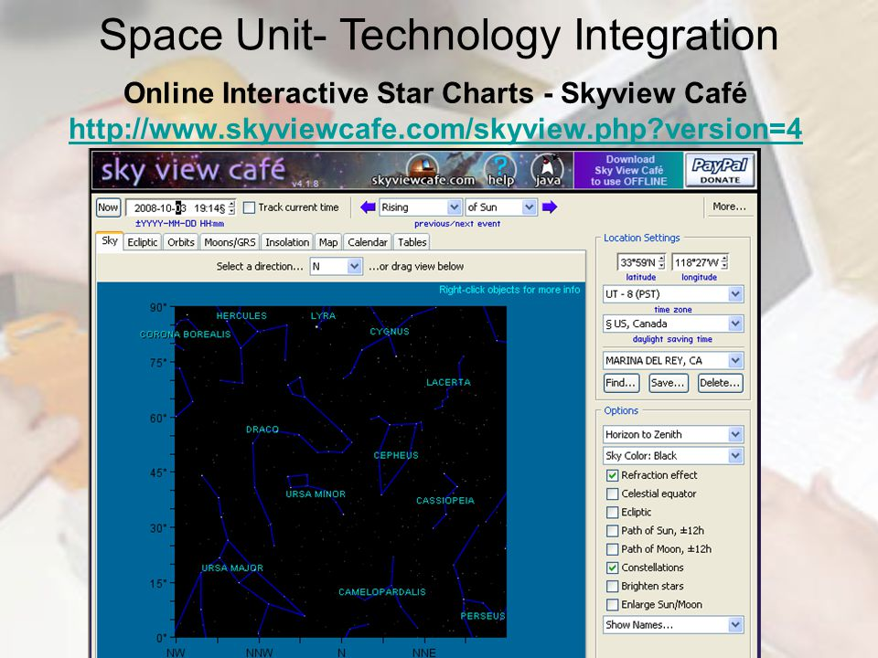 Online Interactive Star Charts - Skyview Café http://www.skyviewcafe.com/skyview.php?version=4 http://www.skyviewcafe.com/skyview.php?version=4 Space Unit- Technology Integration