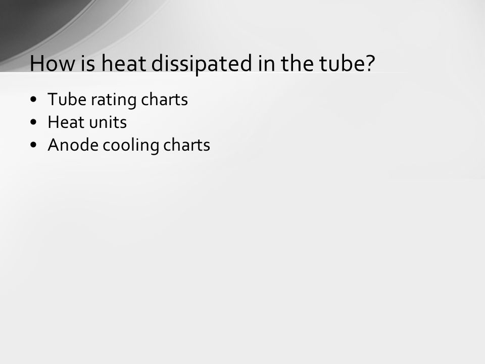 Tube rating charts Heat units Anode cooling charts How is heat dissipated in the tube
