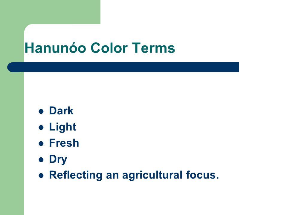 Hanunóo Color Terms Dark Light Fresh Dry Reflecting an agricultural focus.