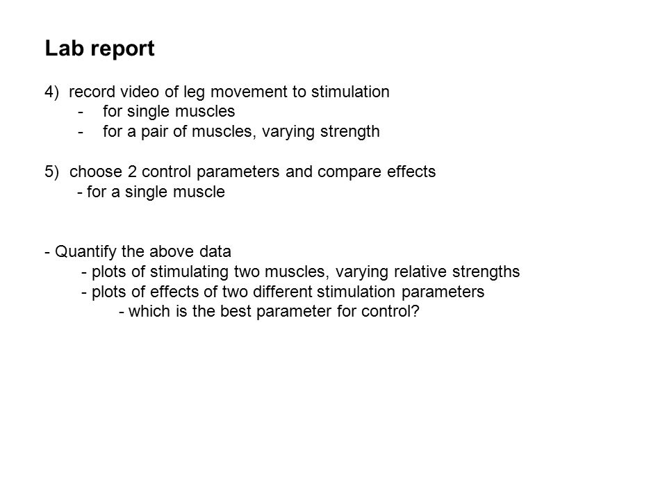 Lab report 4) record video of leg movement to stimulation -for single muscles -for a pair of muscles, varying strength 5)choose 2 control parameters and compare effects - for a single muscle - Quantify the above data - plots of stimulating two muscles, varying relative strengths - plots of effects of two different stimulation parameters - which is the best parameter for control?