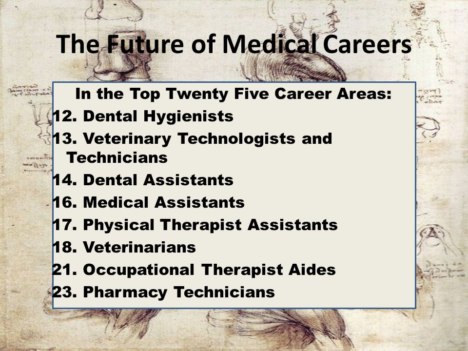 The Future of Medical Careers In the Top Twenty Five Career Areas: 12. Dental Hygienists 13. Veterinary Technologists and Technicians 14. Dental Assis