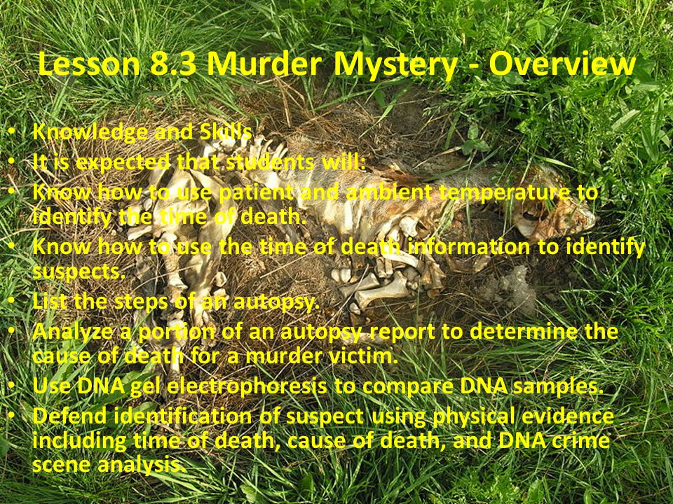 Lesson 8.3 Murder Mystery - Overview Knowledge and Skills It is expected that students will: Know how to use patient and ambient temperature to identi