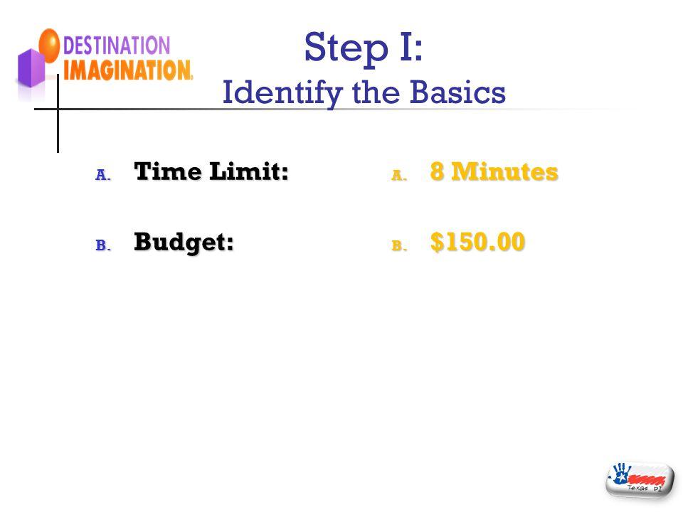Step I: Identify the Basics A. Time Limit: B. Budget: A. 8 Minutes B. $150.00