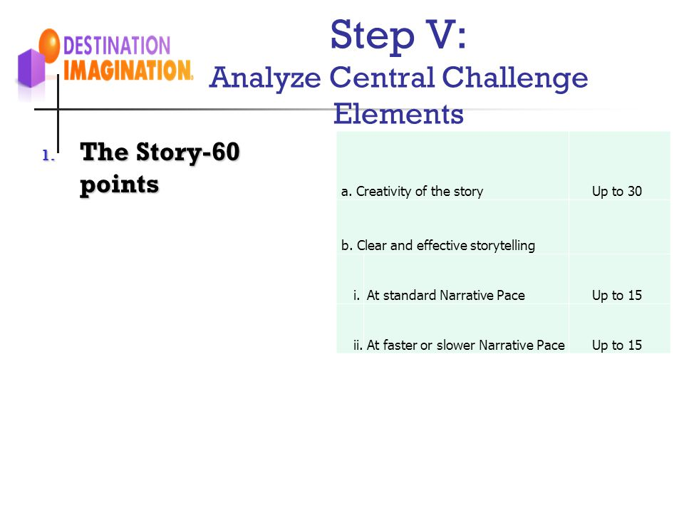 Step V: Analyze Central Challenge Elements 1. The Story-60 points a. Creativity of the storyUp to 30 b. Clear and effective storytelling i.At standard