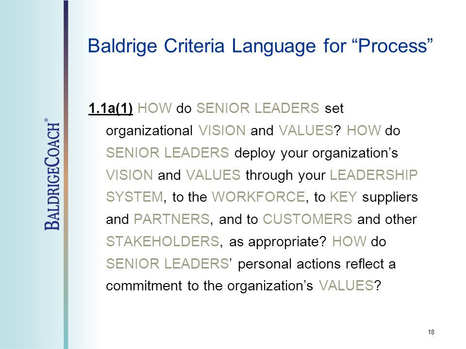 18 Baldrige Criteria Language for Process 1.1a(1) HOW do SENIOR LEADERS set organizational VISION and VALUES.