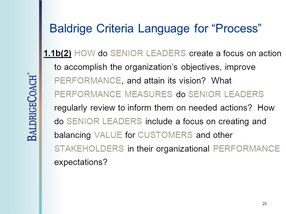 20 Baldrige Criteria Language for Process 1.1b(2) HOW do SENIOR LEADERS create a focus on action to accomplish the organization's objectives, improve PERFORMANCE, and attain its vision.