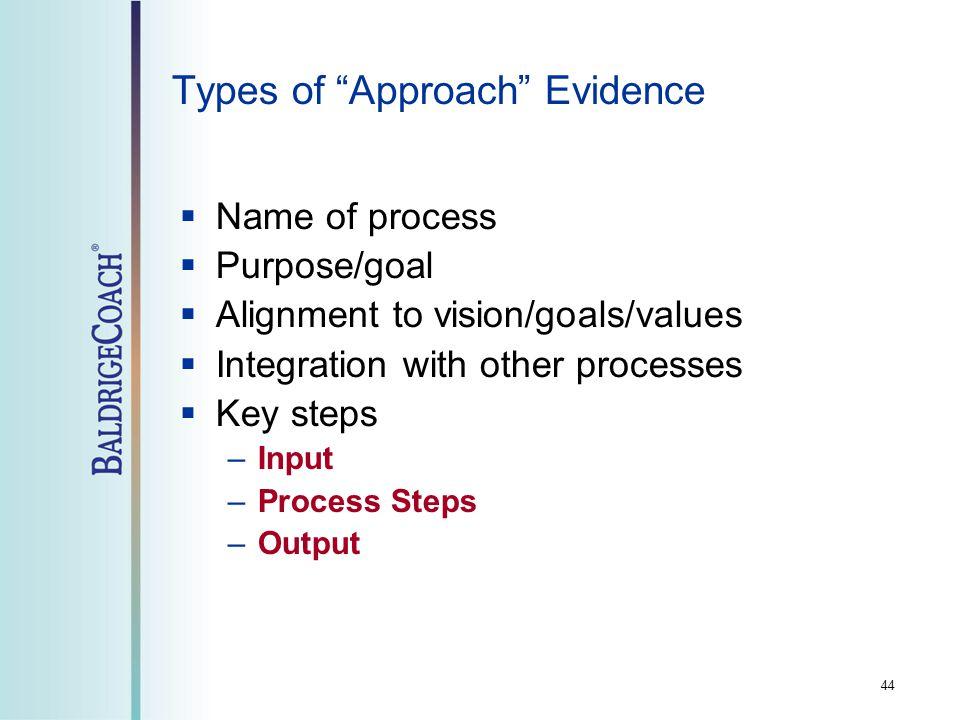 44 Types of Approach Evidence  Name of process  Purpose/goal  Alignment to vision/goals/values  Integration with other processes  Key steps –Input –Process Steps –Output