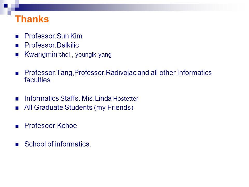 Thanks Professor.Sun Kim Professor.Dalkilic Kwangmin choi, youngik yang Professor.Tang,Professor.Radivojac and all other Informatics faculties.