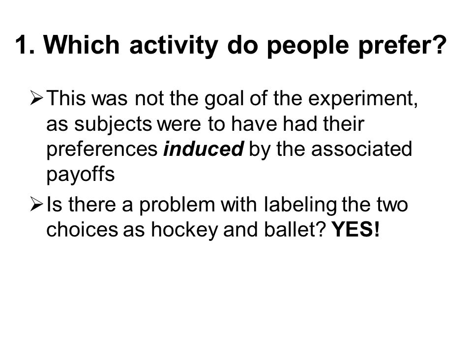 1. Which activity do people prefer?  This was not the goal of the experiment, as subjects were to have had their preferences induced by the associate