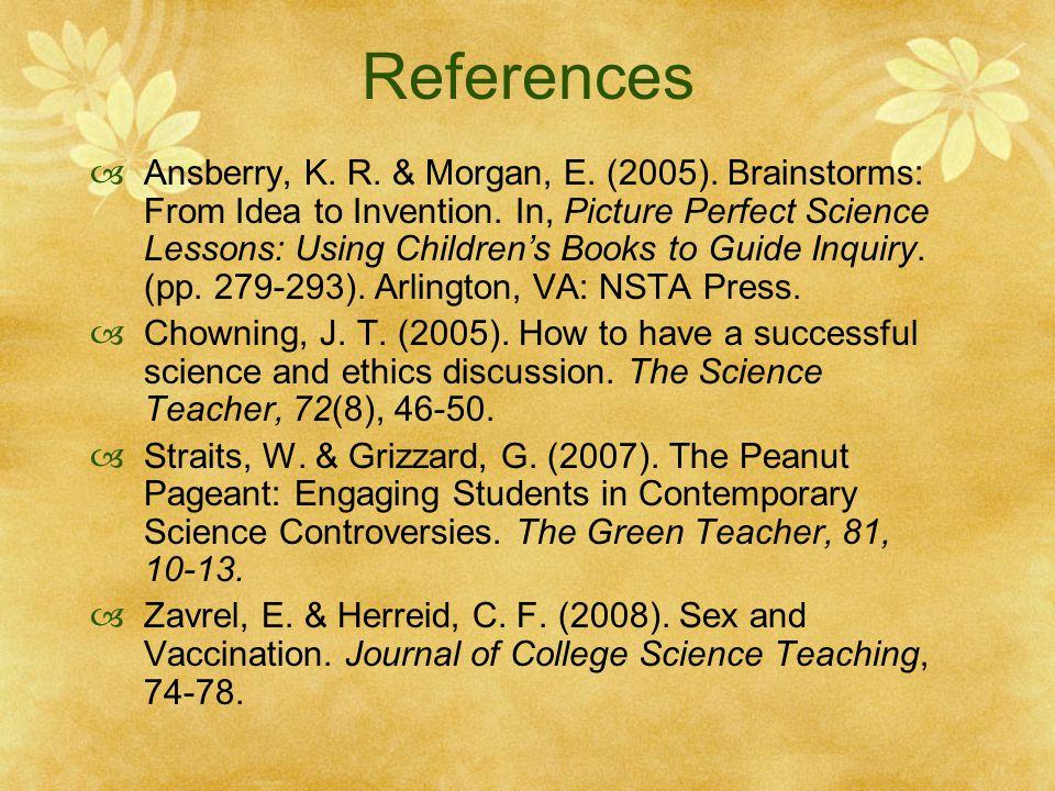 References  Ansberry, K. R. & Morgan, E. (2005).