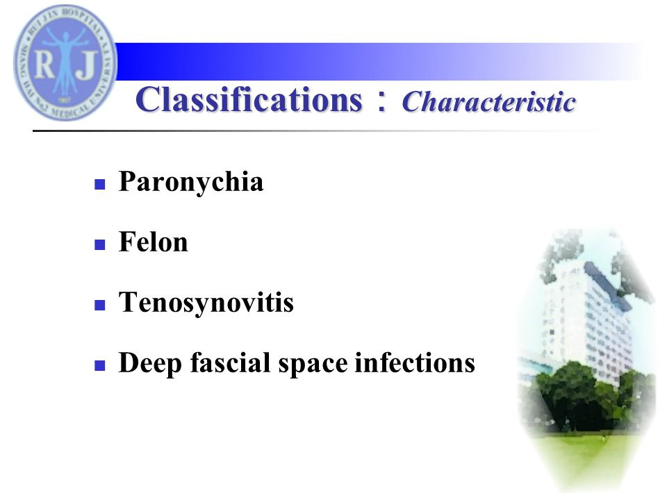 Paronychia Felon Tenosynovitis Deep fascial space infections Classifications : Characteristic