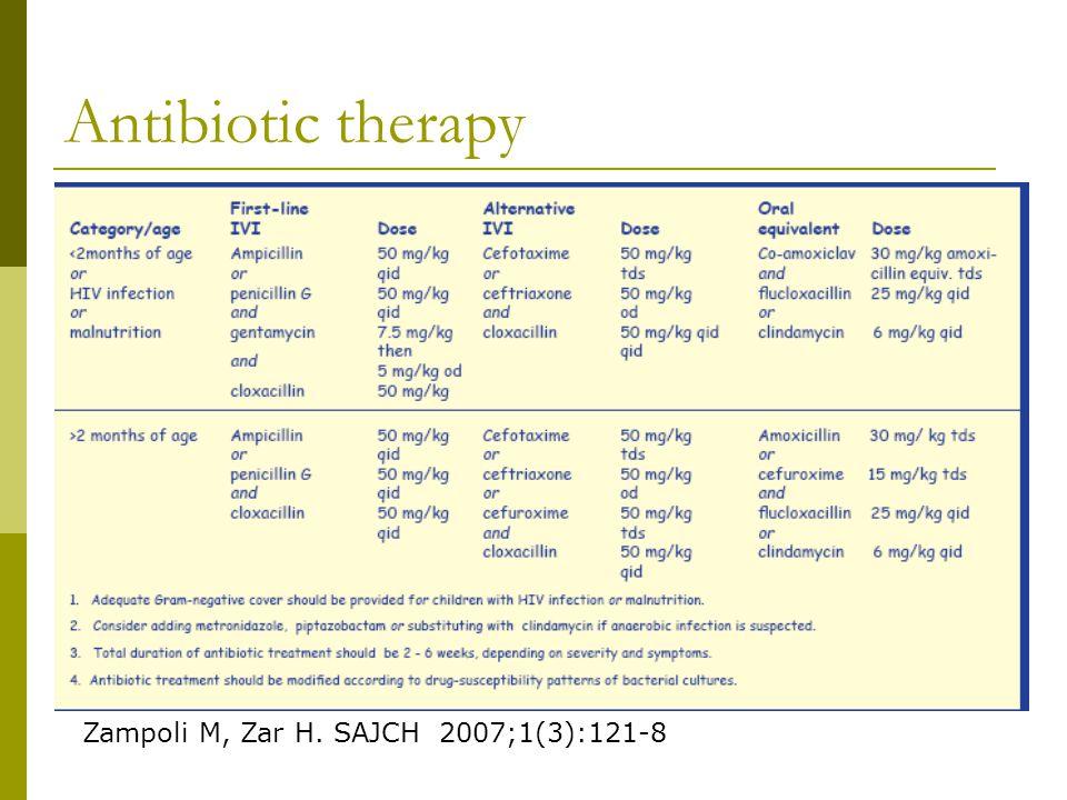 Antibiotic therapy Zampoli M, Zar H. SAJCH 2007;1(3):121-8