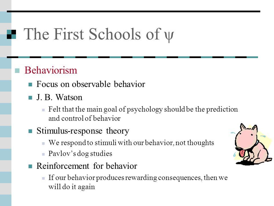 The First Schools of ψ Behaviorism Focus on observable behavior J.