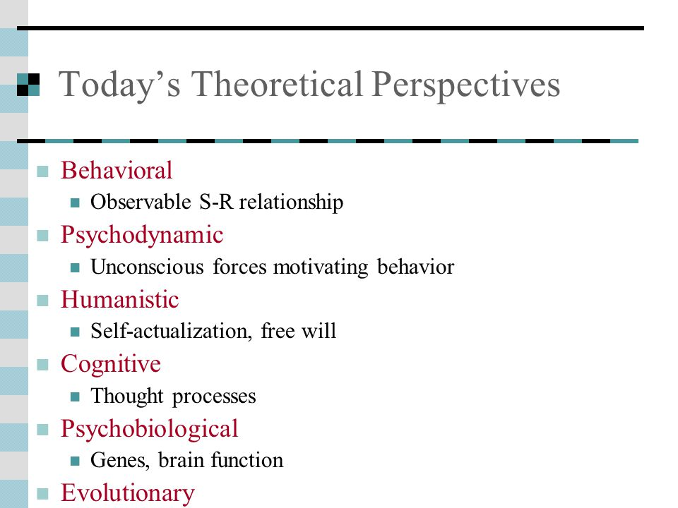 Today's Theoretical Perspectives Behavioral Observable S-R relationship Psychodynamic Unconscious forces motivating behavior Humanistic Self-actualization, free will Cognitive Thought processes Psychobiological Genes, brain function Evolutionary