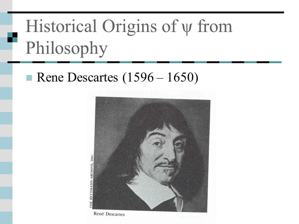 Historical Origins of ψ from Philosophy Rene Descartes (1596 – 1650)