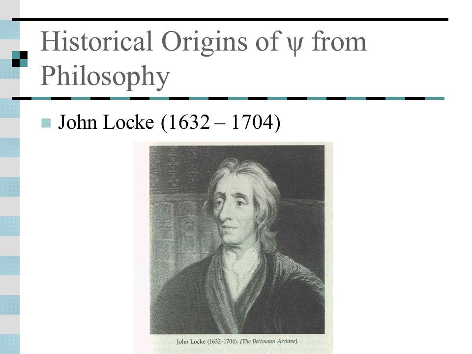 Historical Origins of ψ from Philosophy John Locke (1632 – 1704)