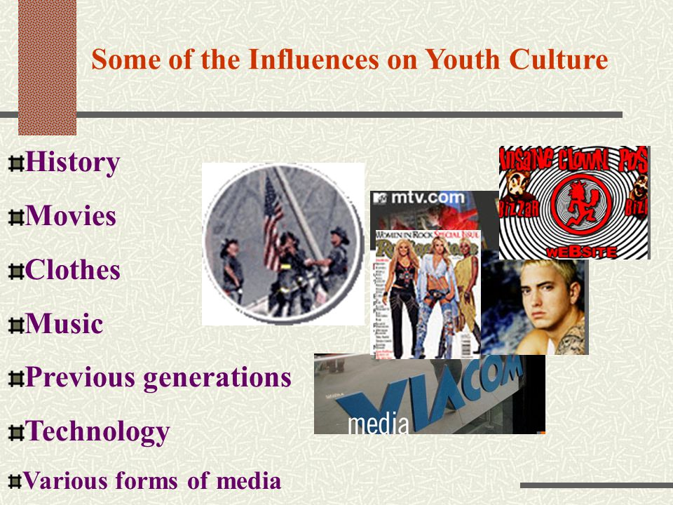 Some of the Influences on Youth Culture History Movies Clothes Music Previous generations Technology Various forms of media