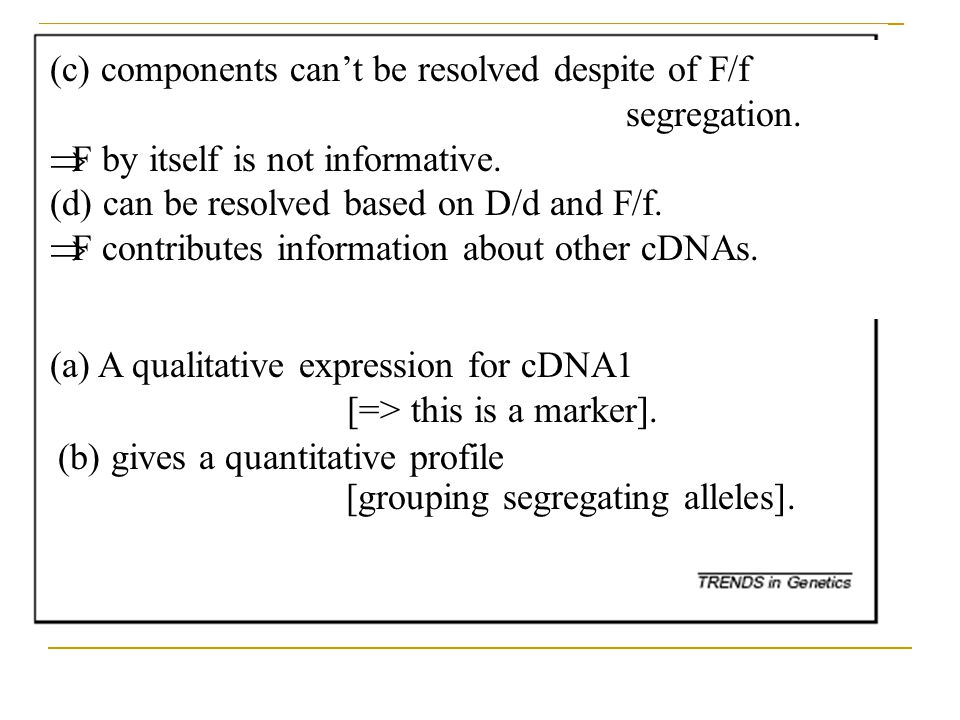 (a)A qualitative expression for cDNA1 [=> this is a marker]. (c) components can't be resolved despite of F/f segregation.  F by itself is not informa