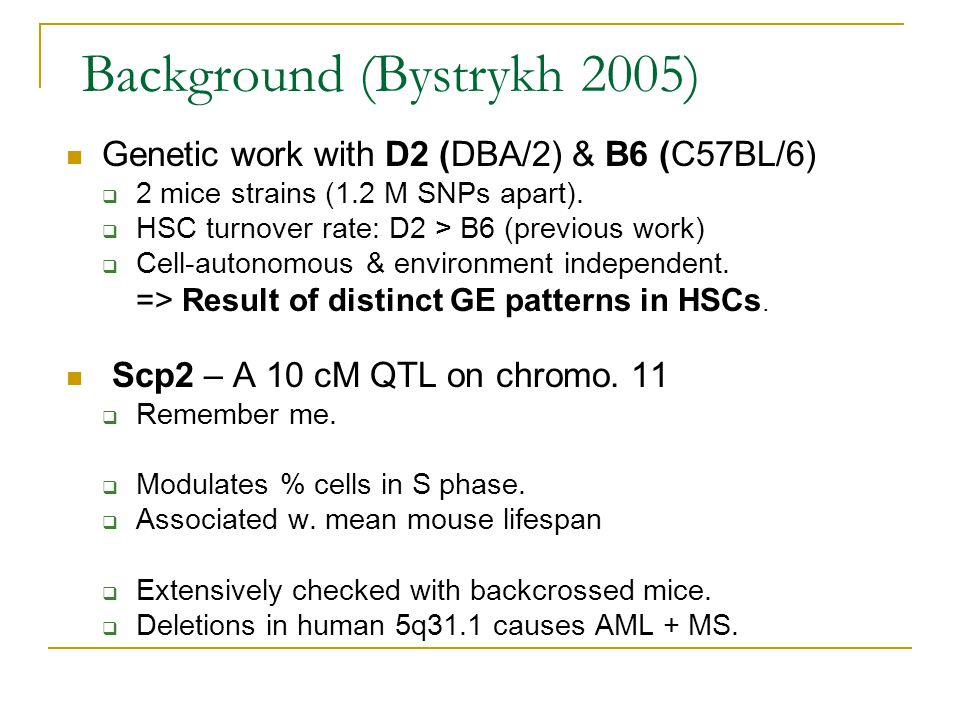 Background (Bystrykh 2005) Genetic work with D2 (DBA/2) & B6 (C57BL/6)  2 mice strains (1.2 M SNPs apart).  HSC turnover rate: D2 > B6 (previous wor